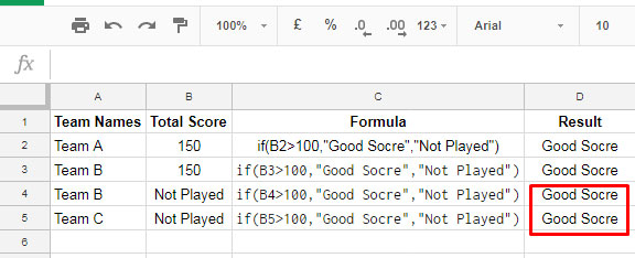 Use of ISNUMBER with IF in Google Sheets