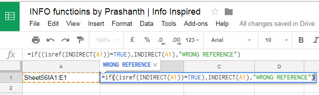 ISREF, INDIRECT with IF logical test in Google Sheets