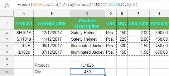 Index Match Case Sensitive Vertical Lookup Formula