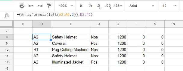 virtual array in Google Sheets Query