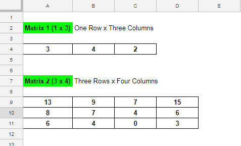 how to multiply two matrices - spreadsheet tricks