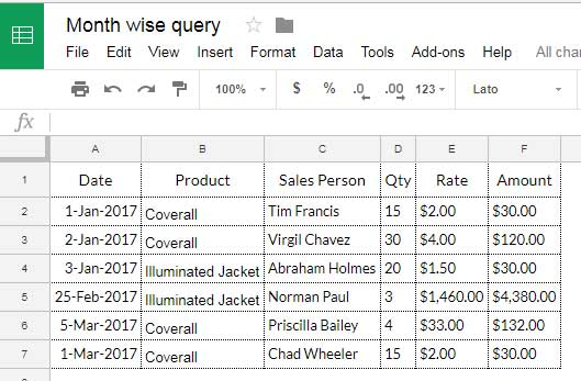 Sample Data : Google Sheets Query Month Function