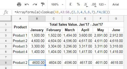 Example to Multiple Values Using Vlookup in Google Sheets