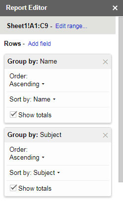 Pivot Table Report Settings - Range and Row Settings