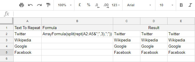 Repeat a Column N Times in Google Sheets Using REPT
