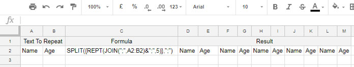 In Google Sheets Rept Multiple Columns N Times