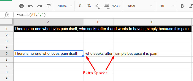 split causes leading spaces