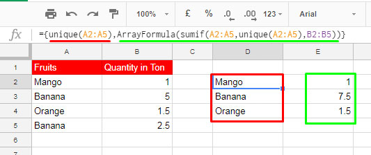join UNIQUE and SUMIF together in Google Sheets