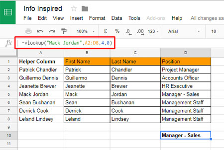 vlookup with helper column in google sheets