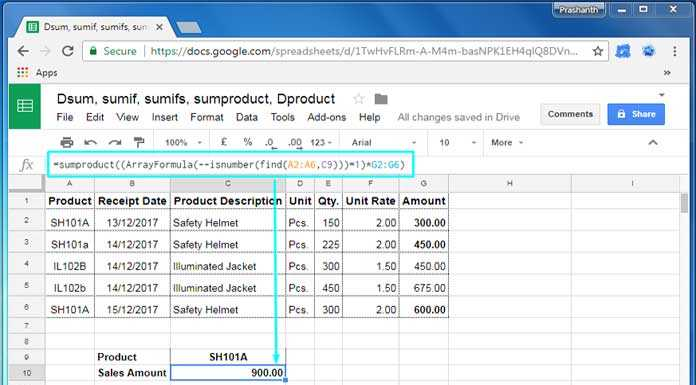 How to Do a Case Sensitive Sumproduct in Google Sheets