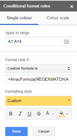 Highlight Only Text Conditional Formatting Rule