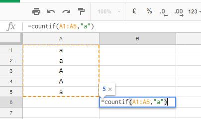 case sensitive countif example 1