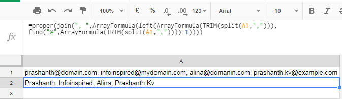 left and find combination to extract username from email id in google sheets