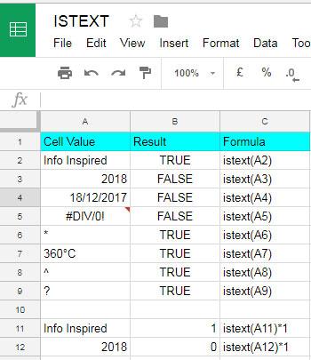 basic examples to Google Sheets ISTEXT formula