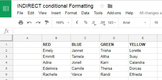 sample data for indirect function in conditional formatting