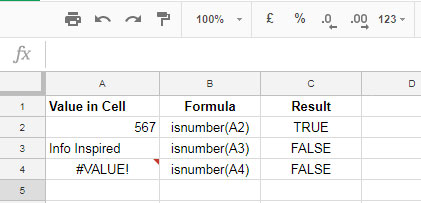 Examples to ISNUMBER Formula in Google Sheets