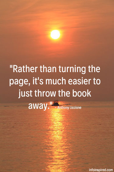 Rather than turning the page, it's much easier to just throw the book away