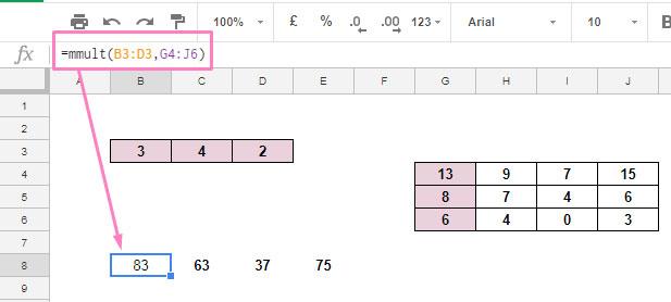 basic MMULT formula in Google Sheets