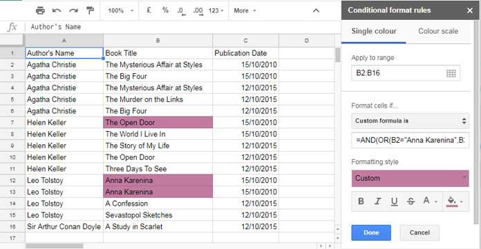 multi column dependent highlighting in google sheets