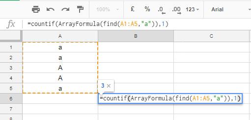 Case sensitive Countif formula in Google Sheets
