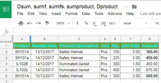 Sample Data for Case Sensitive Sumproduct