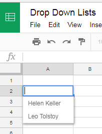 sample drop down in google sheets