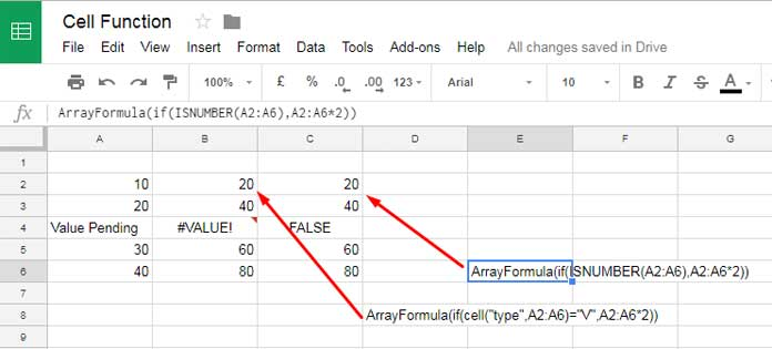 Cell formula in IF logical test in Google Sheets