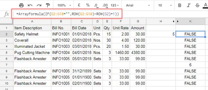 only number cells that is blank in Google sheets