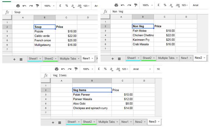 data in multiple tabs used in vlookup