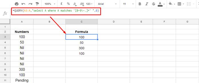 query formula in google sheets to filter only numeric values
