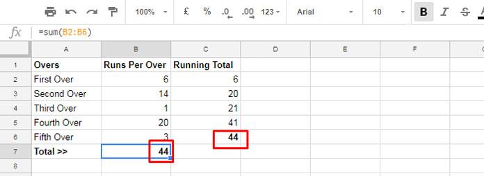 running total example in google doc spreadsheet