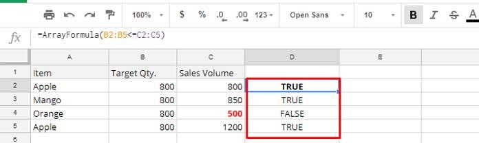 true or false array result for MINA test