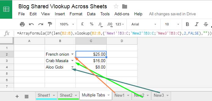 vlookup involving search keys in different tabs