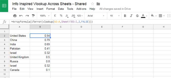 vlookup in array across sheet tabs