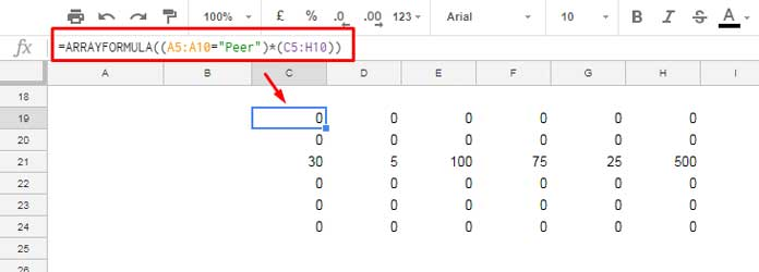 criteria usage in mmult using arrayformula
