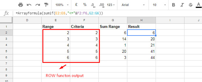sumif in running total in google sheets