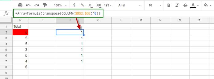 create matrix from column number in google sheets