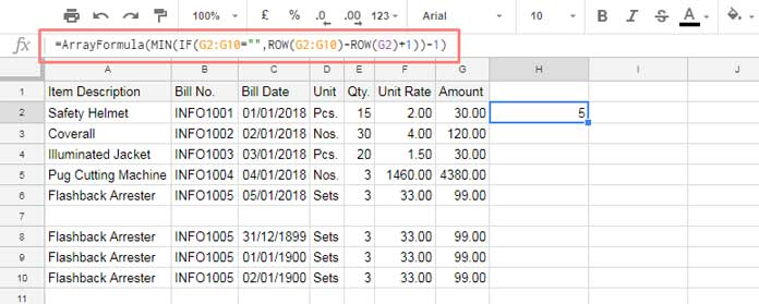 How to Count Until a Blank Cell in Google Sheets