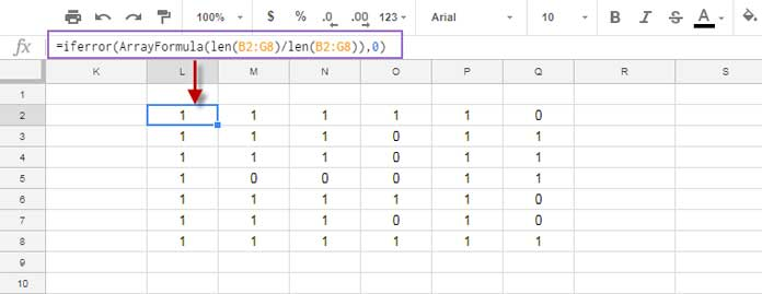 create matrix for counta in Google Sheets