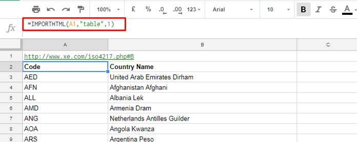 Import ISO 4217 Currency Codes in Google Sheets