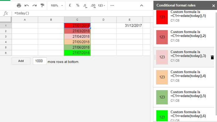 custom formula for Expiry Date related Conditional Formatting