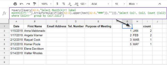 Query formula to summarize the data month wise