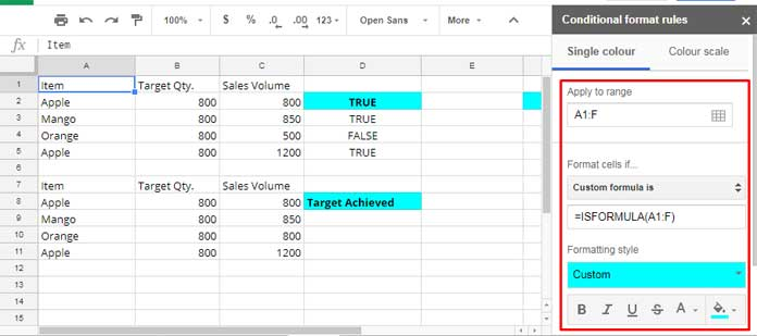 highlight cells containing formulas - custom rules