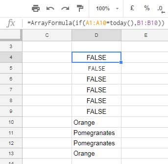 the use of arrayformula and if functions in countif