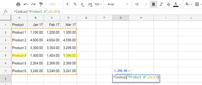 lookup in Google Sheets column based lookup