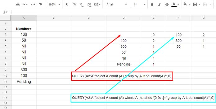 count with and without filtering out text values