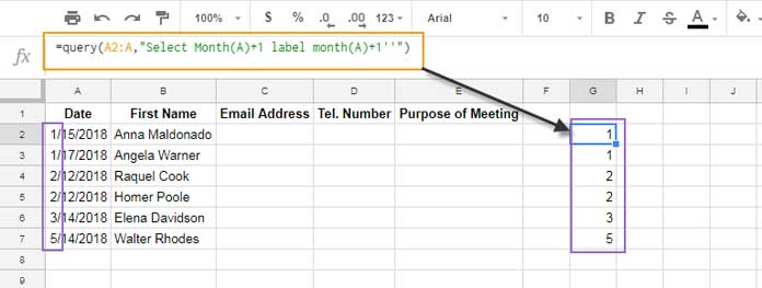 Query returns the month in number