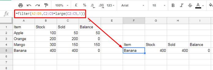 large function with filter in google sheets