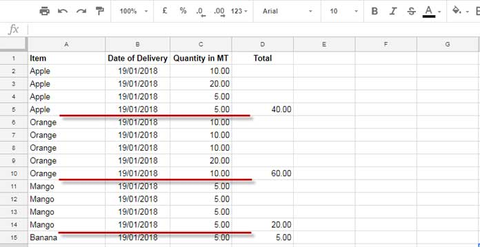 Example to Total on Each Changes in a Column Value