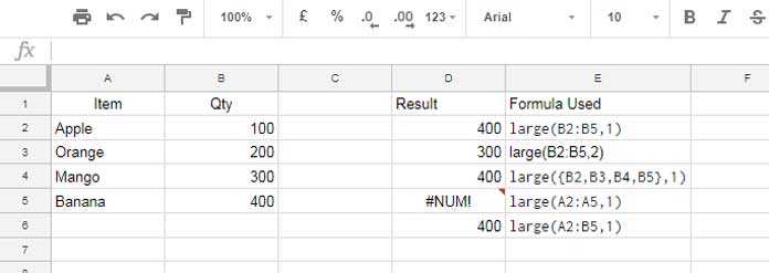How to Use Large Function in Google Sheets - Example